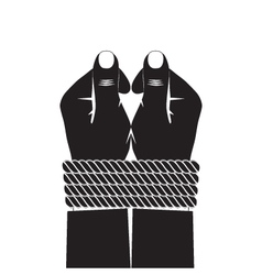 Black silhouette of the hands tied by a rope vector