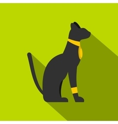 Black sitting egyptian cat icon flat style vector