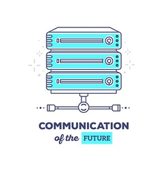 Blue data server with text communication vector