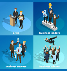 Business winning leaders 4 isometric icons vector