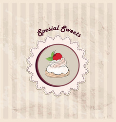 cake cafe menu background bakery label sweet vector image vector image
