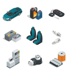 Car isometric elements Car service maintenance vector image vector image