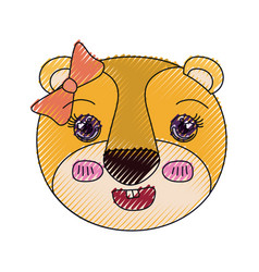 Color crayon silhouette cute face of lioness vector