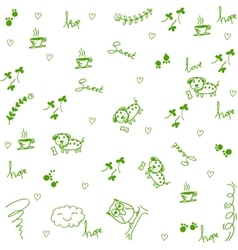 Dog and owl doodle art vector image vector image