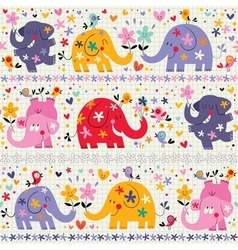 Elephants pattern vector