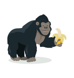 gorilla cartoon icon in flat design vector image vector image