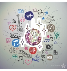 Hand drawn music icons set and sticker with disco vector image