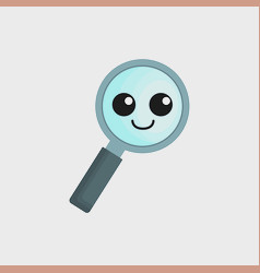 Kawaii magnifying glass icon vector