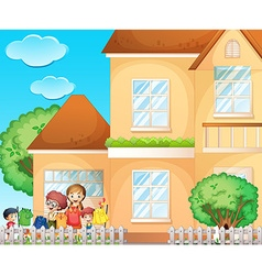 Kids doing chore at home vector image