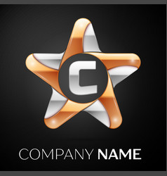Letter c logo symbol in the colorful star on black vector