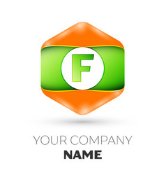 Letter f logo in the colorful hexagonal vector