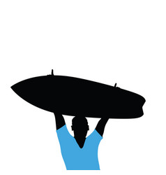 Man silhouette with surfboard in hand vector