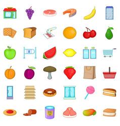Organic food icons set cartoon style vector
