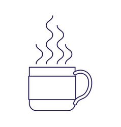 Purple line contour of hot coffee cup vector