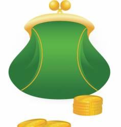 purse and coins vector image