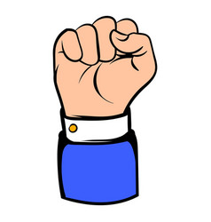 Raised fist hand gesture icon icon cartoon vector