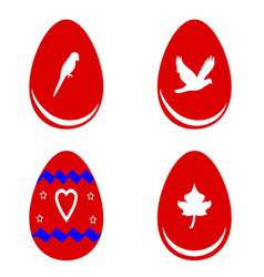 Red easter eggs with shapes vector