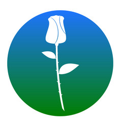 Rose sign white icon in vector