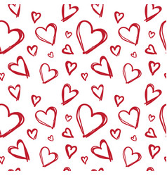 seamless pattern with doodle red hearts valentines vector image
