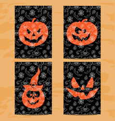 set of art cards for happy halloweendesign vector image