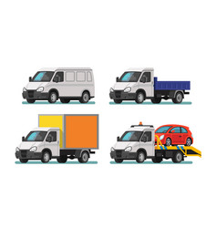 set of delivery cars and tow truck vector image vector image