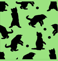 silhouettes of cats background seamless vintage vector image
