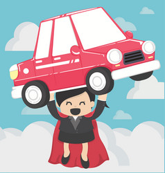 Super business woman carrying carconcept car loans vector