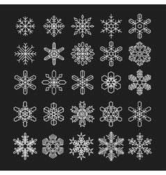 thin line snowflake icons set vector image vector image