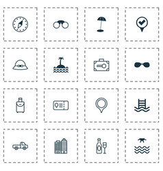 Travel icons set collection of pair of glasses vector