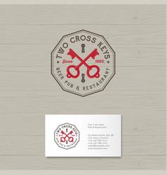 two cross keys pub logo restaurant vector image