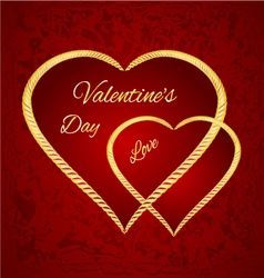 Valentine day two gilded hearts red background vector image vector image