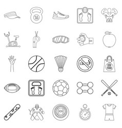 Vitality icons set outline style vector