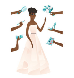 Young african bride in a white dress vector