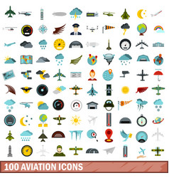 100 aviation icons set flat style vector image vector image