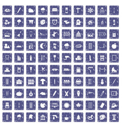 100 drawing icons set grunge sapphire vector