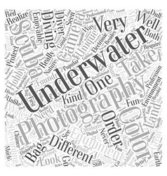 Camera bag underwater word cloud concept vector