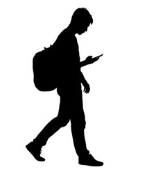 Black silhouettes man with backpack on a back vector