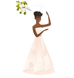 african bride tossing a bouquet of flowers vector image