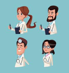 Color background hospital medical half body staff vector