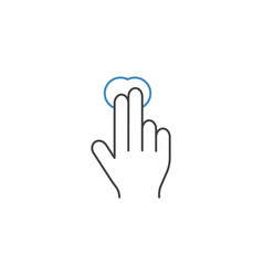 2 finger tap line icon touch and hand gestures vector