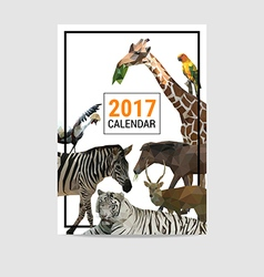 2017 calendar cover animal polygon vector