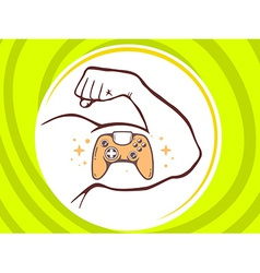 Strong man hand with icon of joystick on vector