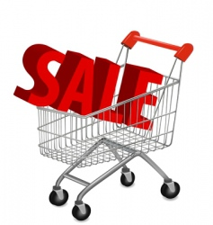 Shopping cart with sale vector