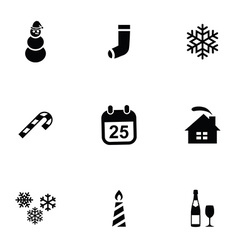 Christmas 9 icons set vector