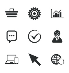 Internet seo icons tick shopping signs vector