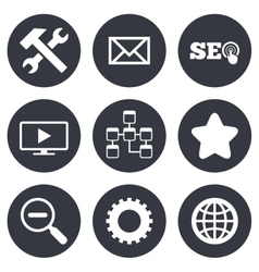 Internet seo icons repair database and star vector