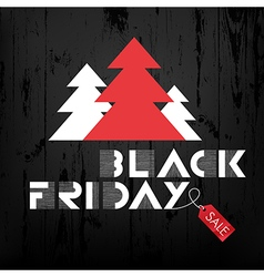Black friday wooden xmas trees and red label vector