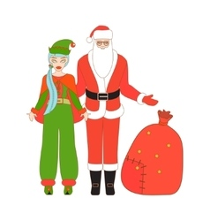 Isolated santa claus and santa helper vector