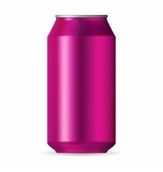 Realistic pink aluminum can vector