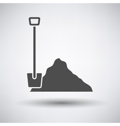 Construction shovel and sand icon vector image